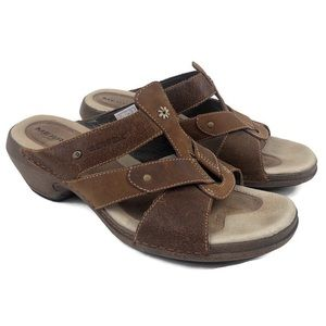 Merrell Luxe Slides Mink Leather Slip on Sandals